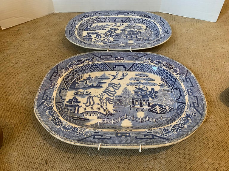 Pair of 19th Century Marked English Staffordshire Blue Willow Pearlware Platters For Sale 2
