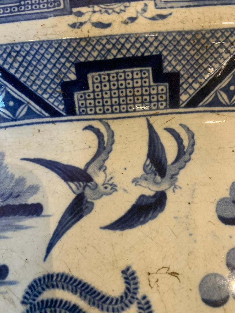 Pair of 19th Century Marked English Staffordshire Blue Willow Pearlware Platters For Sale 3