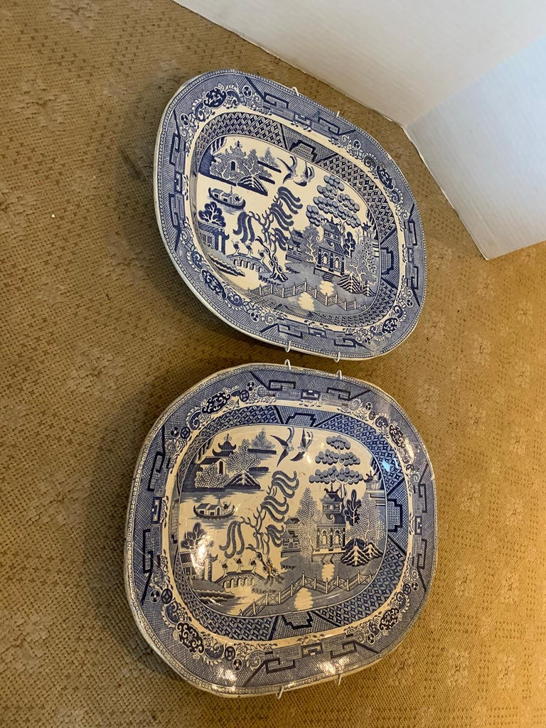 Pair of 19th Century Marked English Staffordshire Blue Willow Pearlware Platters For Sale 4