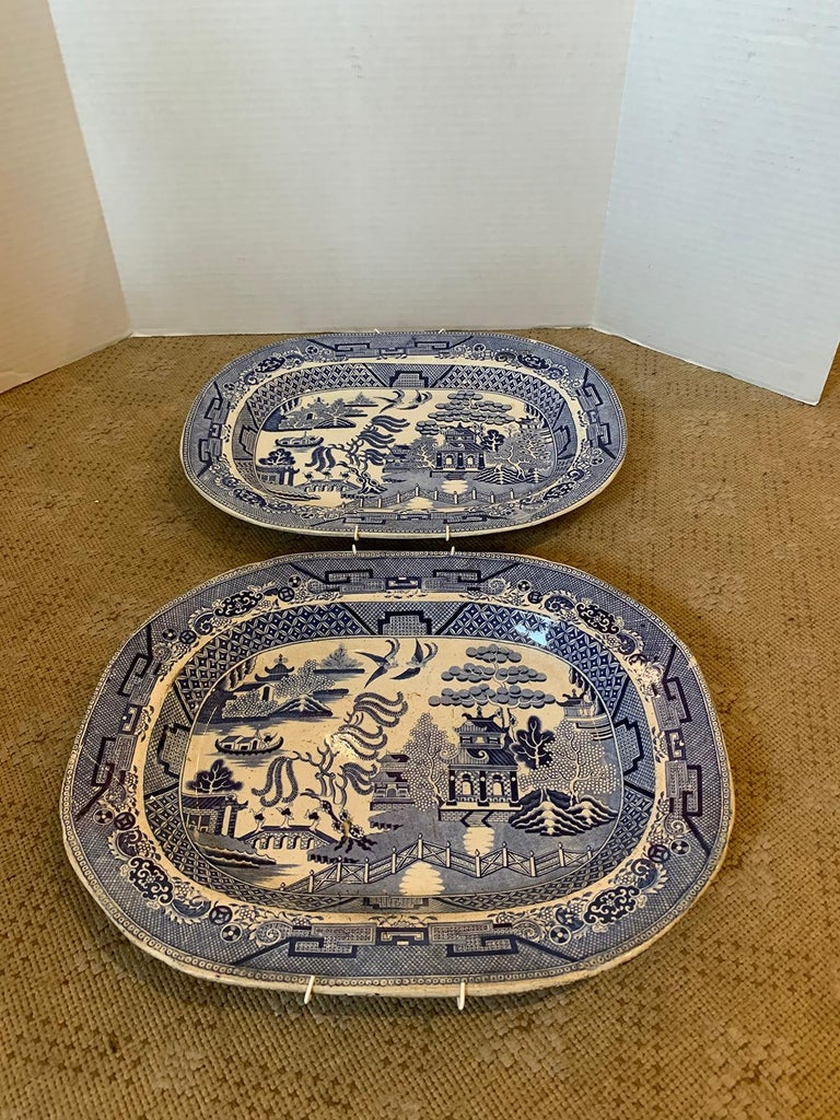 Pair of 19th Century Marked English Staffordshire Blue Willow Pearlware Platters For Sale 5