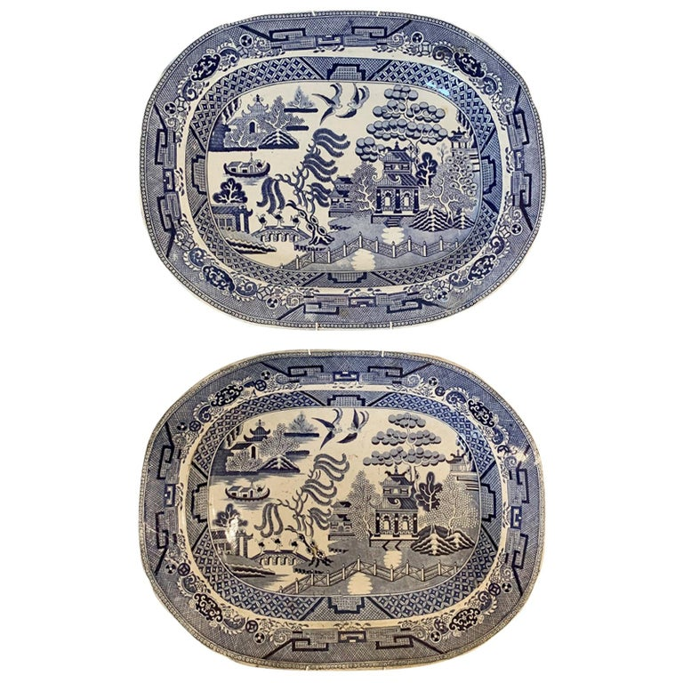 Pair of 19th Century Marked English Staffordshire Blue Willow Pearlware Platters For Sale