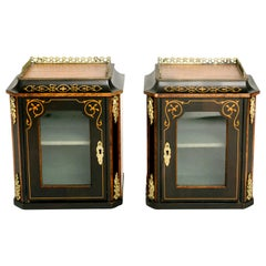 Pair of 19th Century Marquetry and Ormolu Wall Vitrines