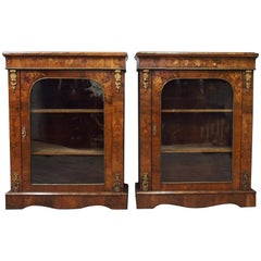 Pair of 19th Century Marquetry Inlaid Walnut Pier Cabinets