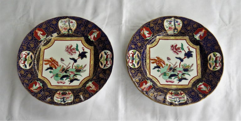 Chinoiserie Pair of 19th Century Mason's Ashworth's Ironstone Dinner Plates, Circa 1870  For Sale