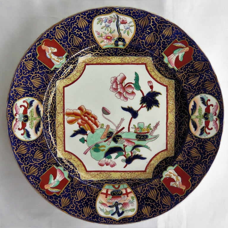 Hand-Painted Pair of 19th Century Mason's Ashworth's Ironstone Dinner Plates, Circa 1870  For Sale