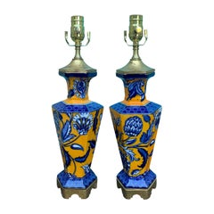 Pair of 19th Century Masons Orange/Blue Transfer Lamps