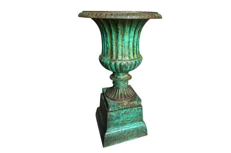 Painted Pair of 19th Century Medici Style Urns For Sale