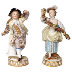 Pair of 19th Century Meissen Figurines Garlands of Flowers