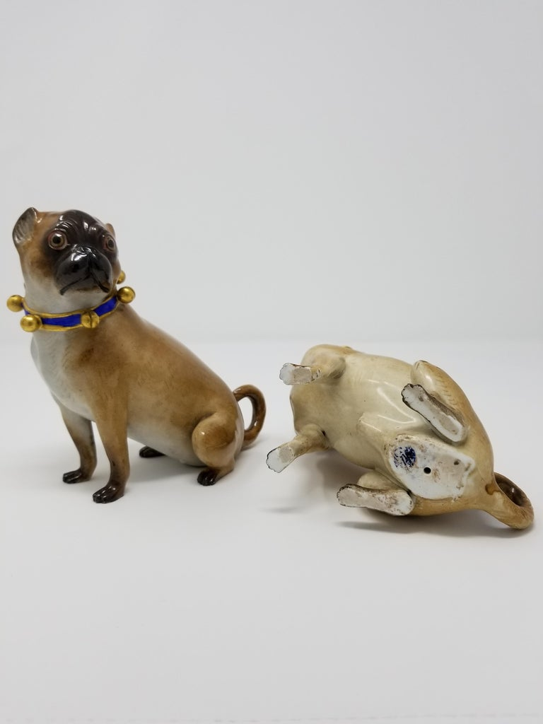 German Pair of 19th Century Meissen Porcelain Figures of Pug Dogs w/ Gilt Bell Collars For Sale