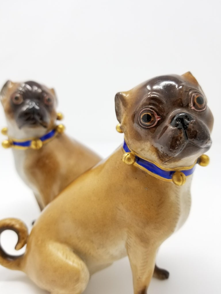 Pair of 19th Century Meissen Porcelain Figures of Pug Dogs w/ Gilt Bell Collars For Sale 2
