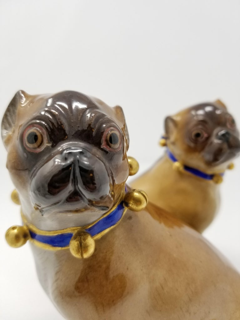 Pair of 19th Century Meissen Porcelain Figures of Pug Dogs w/ Gilt Bell Collars For Sale 3
