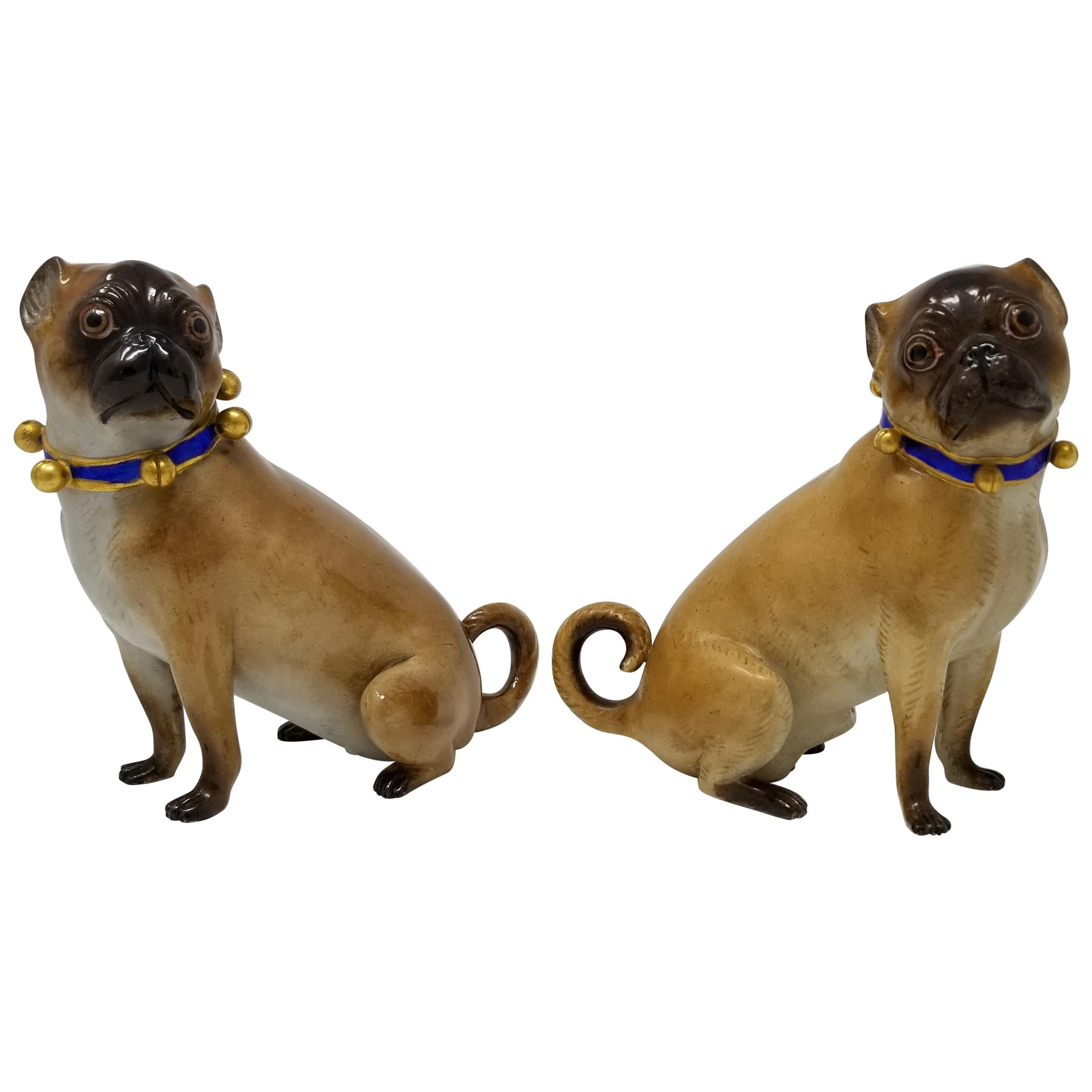 Pair of 19th Century Meissen Porcelain Figures of Pug Dogs w/ Gilt Bell Collars