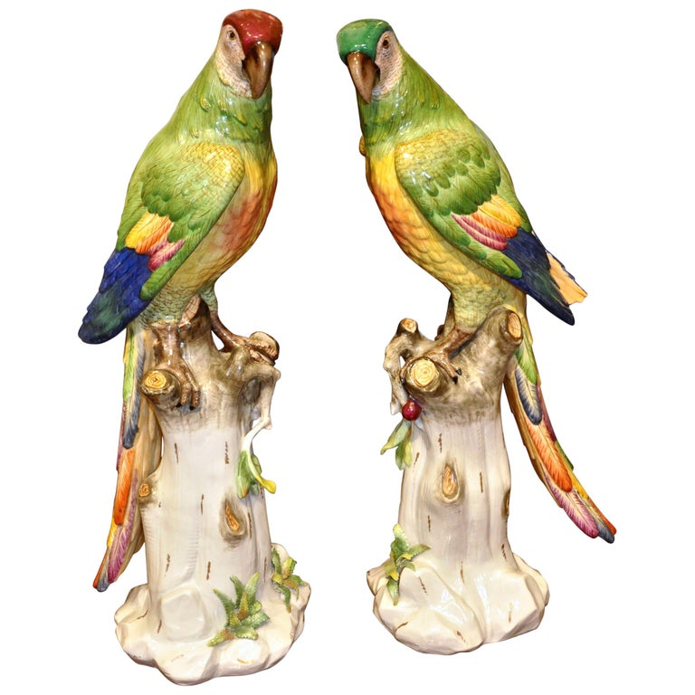 Pair of 19th Century Meissen Style Porcelain Parrots For Sale