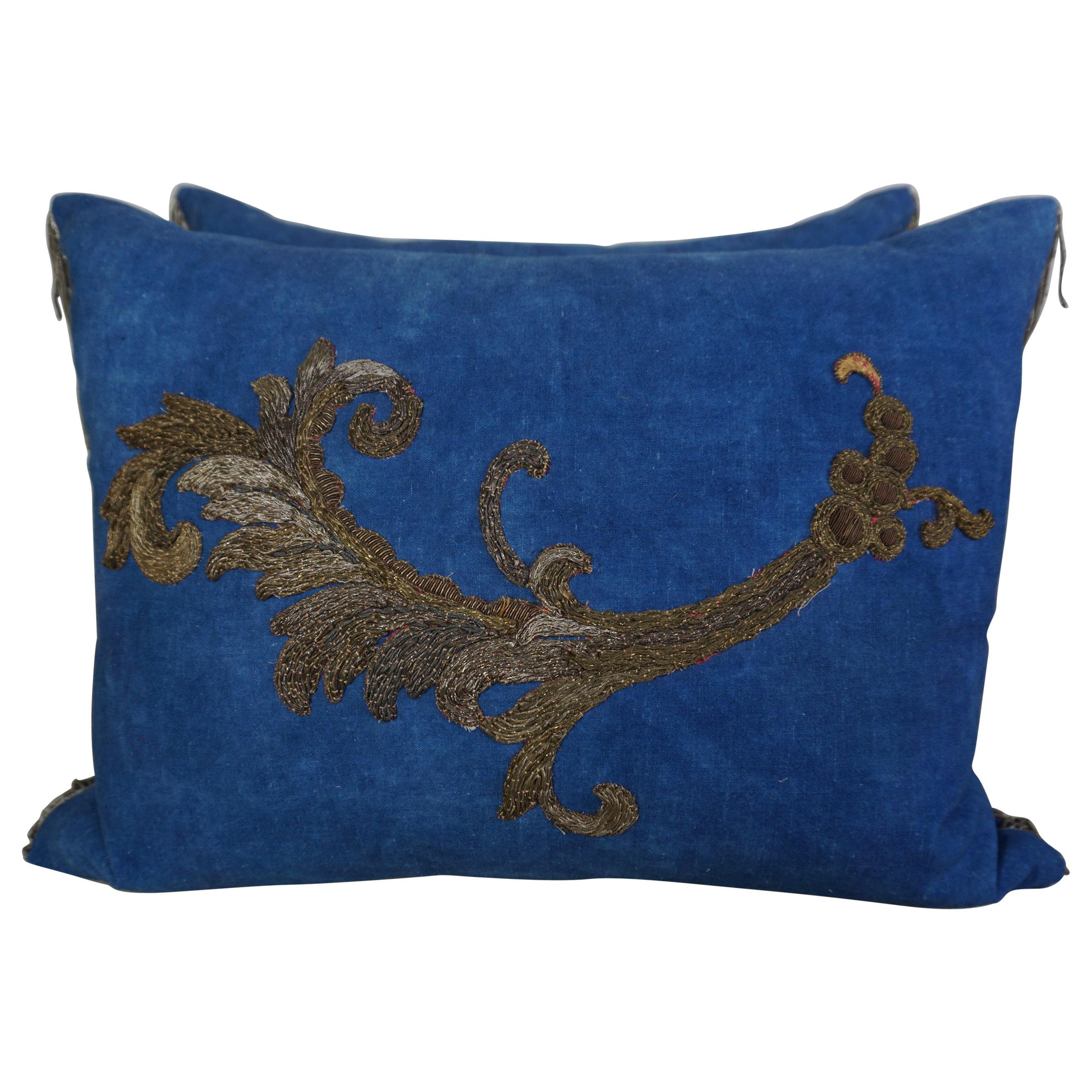 Pair of 19th Century Metallic Applique Pillows by Melissa Levinson