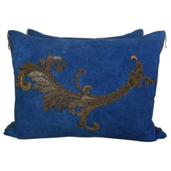 Pair of 19th Century Metallic Applique Pillows by Melissa Levinson