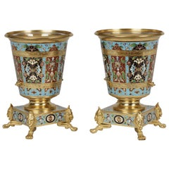 Pair of 19th Century Miniature Gilt Bronze and Champlevé Enamel Vases