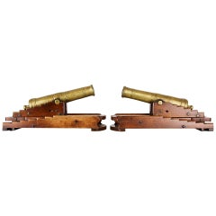 Pair of 19th Century Models of 32-Pounder Canon on Mahogany Elevating Carriages