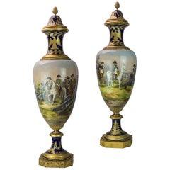 Pair of 19th Century Monumental Sèvres Style Napoleonic Cobalt Vases