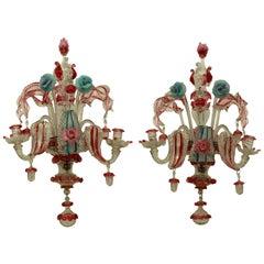 Pair of 19th Century Murano Glass Wall Lights
