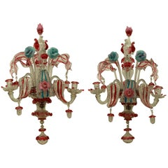 Pair of 19th Century Murano Glass Wall Lights