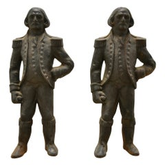 Pair of 19th Century Napoleon Cast Iron Andirons or Firedogs