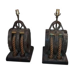Pair of 19th Century Nautical Pullies Now as Lamps