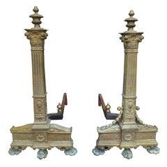 Pair of 19th Century Neoclassical Bronze Andirons