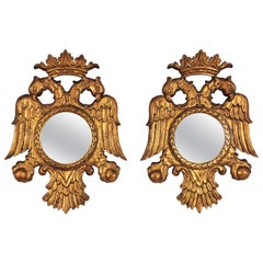 Pair of 19th Century Neoclassical Carved Giltwood Double Headed Eagle Mirrors