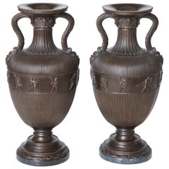 Pair of 19th Century Neoclassical, French, Bronze Urns on Marble Bases