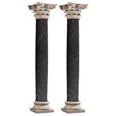 Pair of 19th Century Neoclassical Nero Marquina Marble Columns with Doric Base
