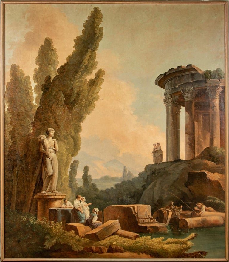 Pair of 19th Century Neoclassical Oil on Canvas Framed Panels For Sale 12