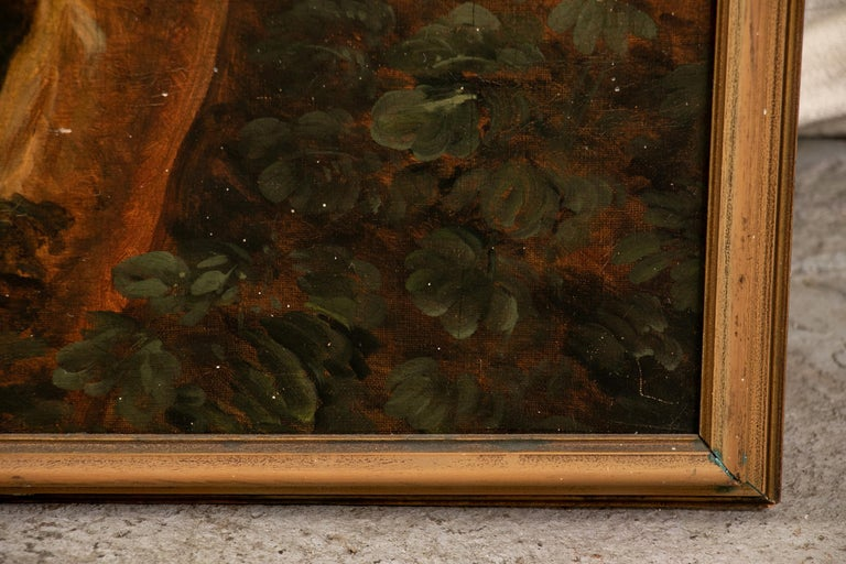 Pair of 19th Century Neoclassical Oil on Canvas Framed Panels In Good Condition For Sale In Bridgeport, CT