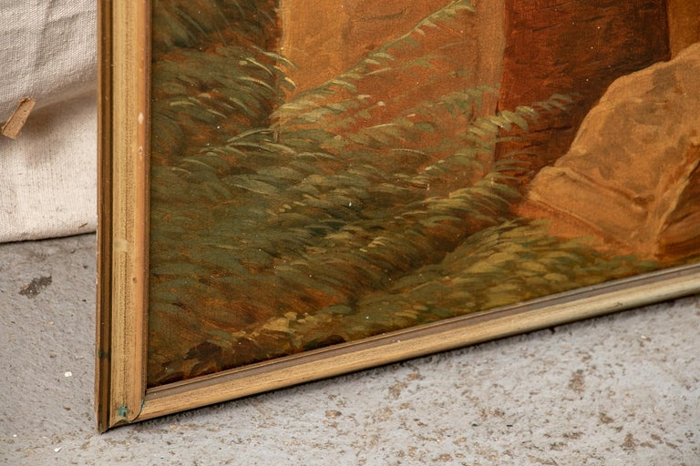 Pair of 19th Century Neoclassical Oil on Canvas Framed Panels For Sale 1