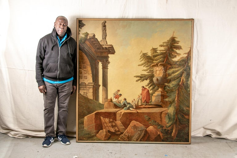 Pair of 19th Century Neoclassical Oil on Canvas Framed Panels For Sale 2