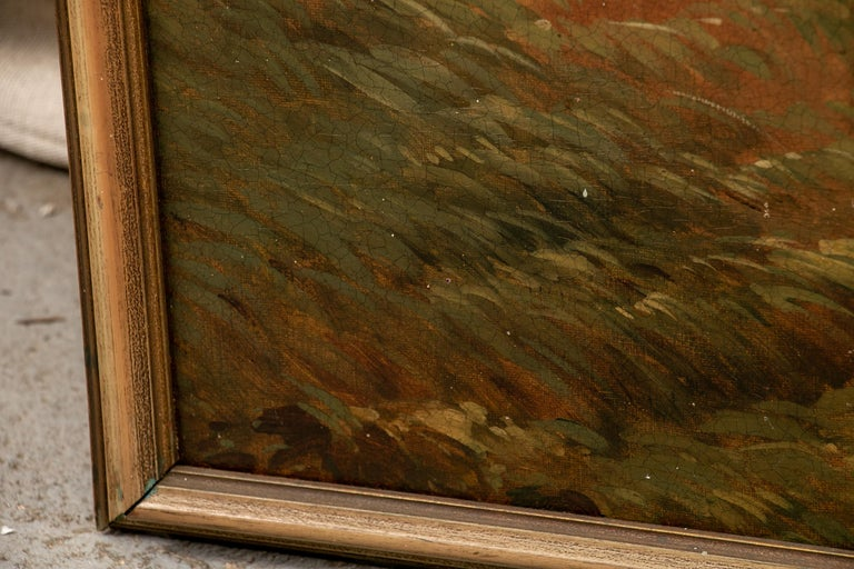 Pair of 19th Century Neoclassical Oil on Canvas Framed Panels For Sale 4