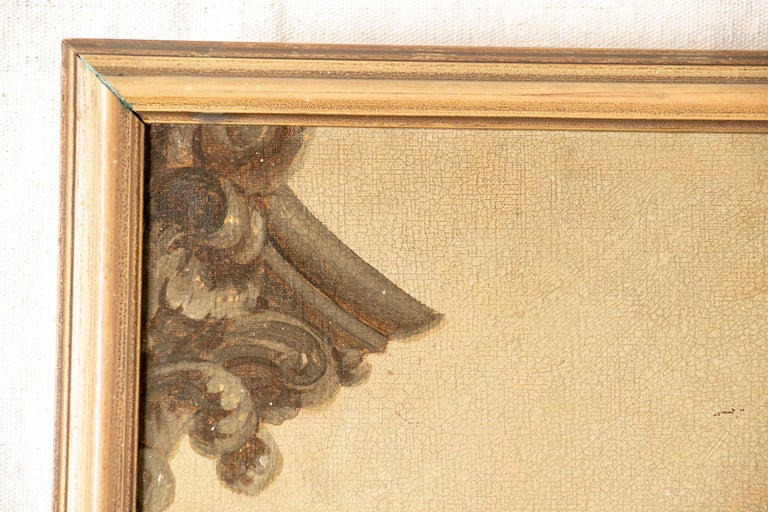 Pair of 19th Century Neoclassical Oil on Canvas Framed Panels For Sale 6