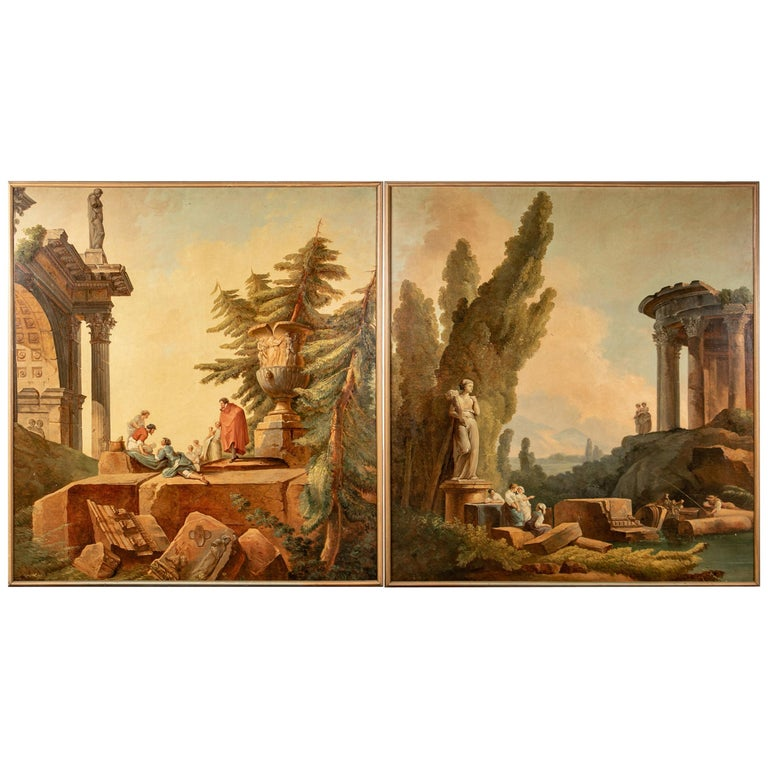 Pair of 19th Century Neoclassical Oil on Canvas Framed Panels For Sale