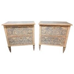Pair of 19th Century Neoclassical Painted 2-Drawer Bed Side Tables