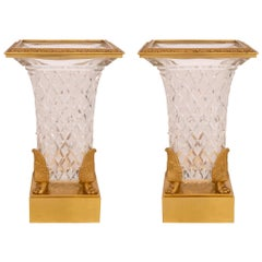 Pair of 19th Century Neoclassical Style Baccarat Crystal and Ormolu Vases