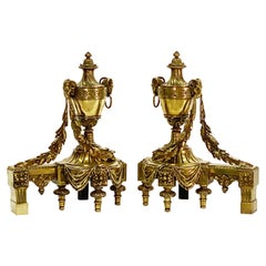 Pair of 19th Century Neoclassical Style Bronze Chenets or Andirons