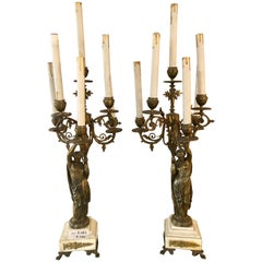 Pair of 19th Century Neoclassical Style Figural Bronze Candelabras
