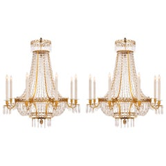 Pair of 19th Century Neoclassical Style Ormolu and Crystal Chandeliers