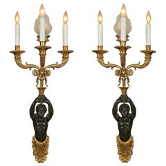 Pair of 19th Century Neoclassical Style Ormolu and Patinated Bronze Sconces