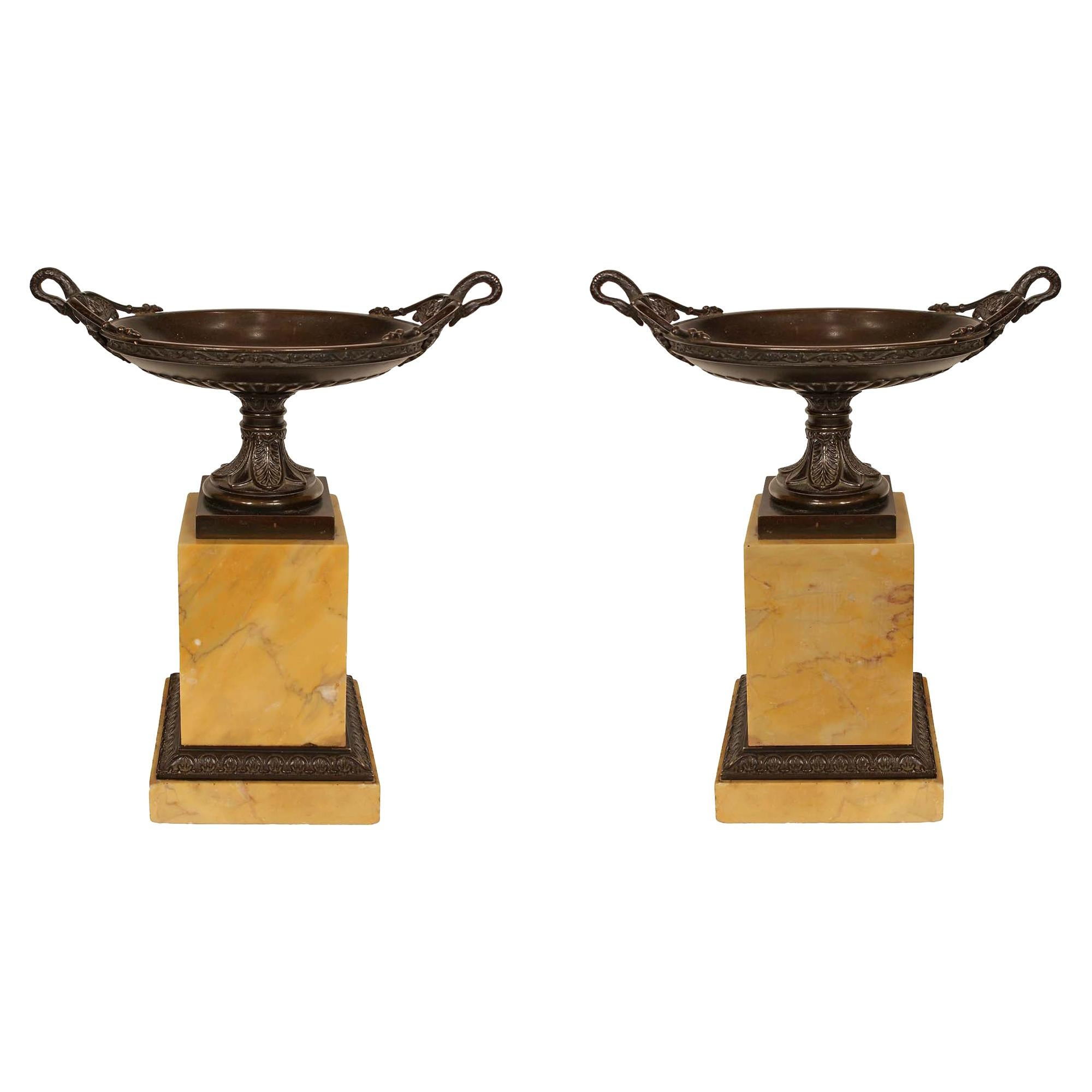 Pair of 19th Century Neoclassical Style Patinated Bronze and Marble Tazzas