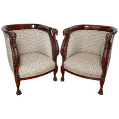 Pair of 19th Century New York Regency Style Hand Carved Figural Chairs