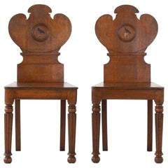 Pair of 19th Century Oak Hall Chairs