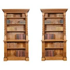 Pair of 19th Century Oak Open Bookcases
