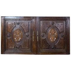 Pair of 19th Century Oak Sideboard Doors
