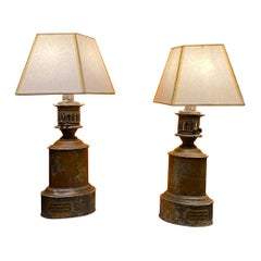 Pair of 19th century oil lamps with makers stamp