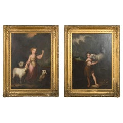 Pair of 19th Century Oil on Canvas Paintings